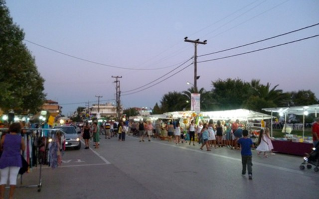 The market in Paralia Dionisiou Beach on the Day of Tomato Festival