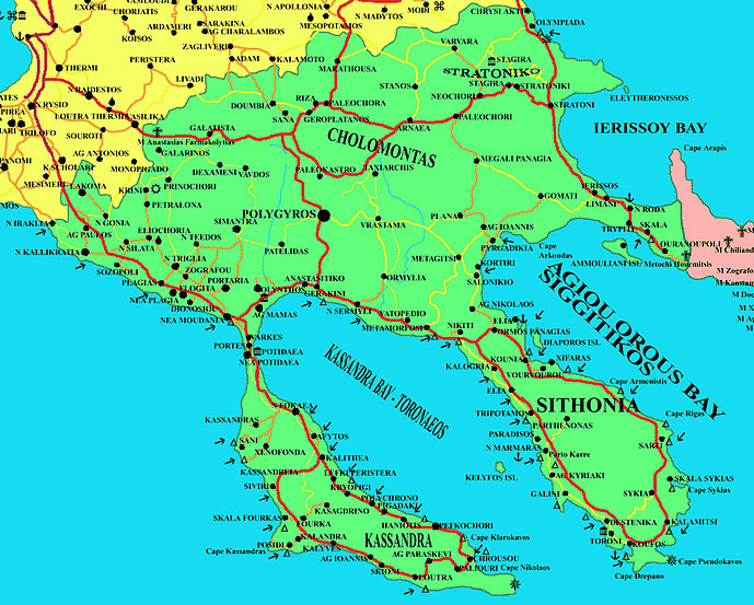 Halkidiki Greece Map Dionisiou Apartments